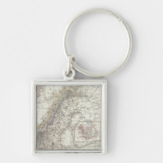 Scandinavia, Sweden, Norway Silver-Colored Square Key Ring