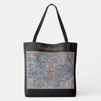 Scandinavia Vintage Old World Map Tote Bag