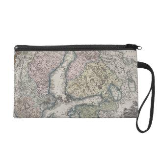 Scandinavian Antique Map Wristlet Clutches
