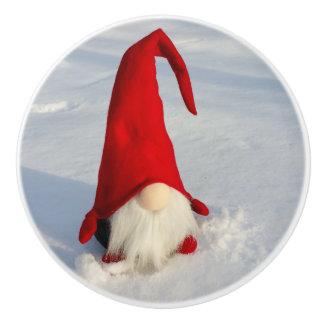 Scandinavian Christmas Gnome Ceramic Knob