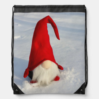 Scandinavian Christmas Gnome Drawstring Bag