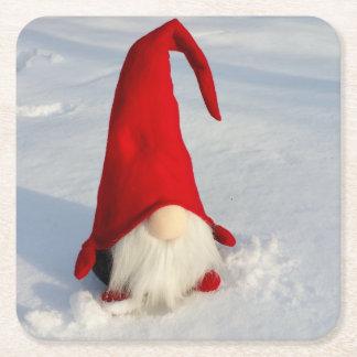 Scandinavian Christmas Gnome Square Paper Coaster