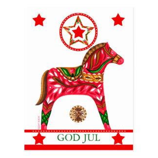 Scandinavian Christmas Greeting w/ custom text Postcard
