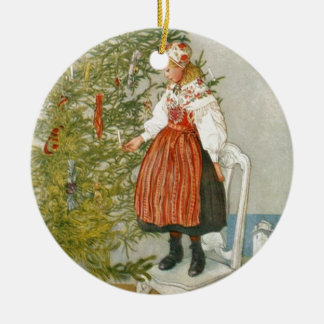 Scandinavian Christmas Round Ceramic Decoration