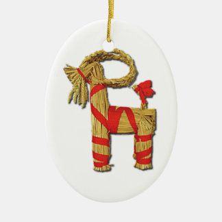 Scandinavian Christmas Straw Yule Goat Julbok Ceramic Oval Decoration