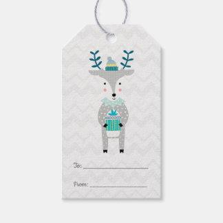 Scandinavian Cute Reindeer Merry Christmas Gift Tags