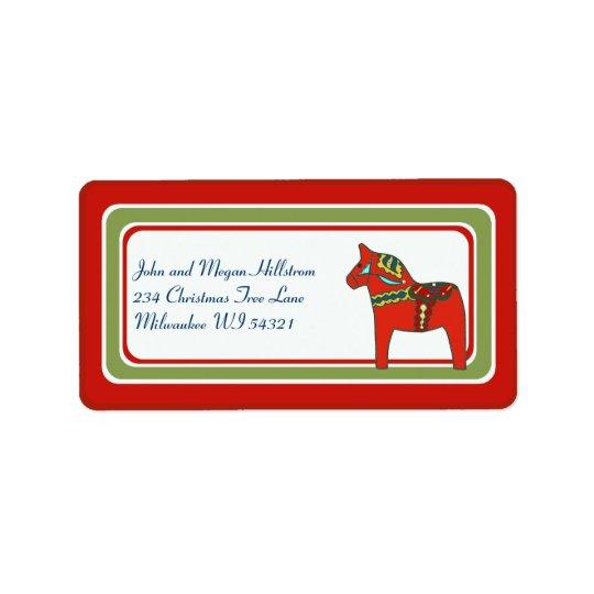 Scandinavian Dala Horse Swedish Custom Personalise Label