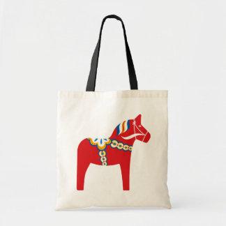Scandinavian dala horse tote bag