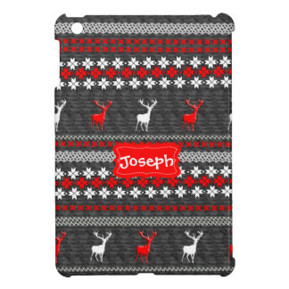 Scandinavian Deer Christmas Pattern Personalized iPad Mini Cover