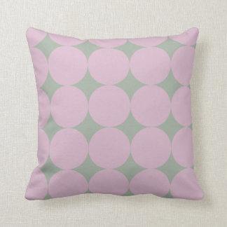 Scandinavian Design Pink and Green Faded Circles Throw Pillow