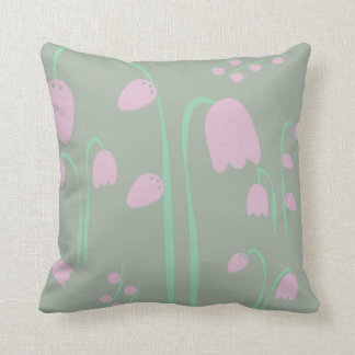 Scandinavian Design Pink and Green Faded Flowers Cushion