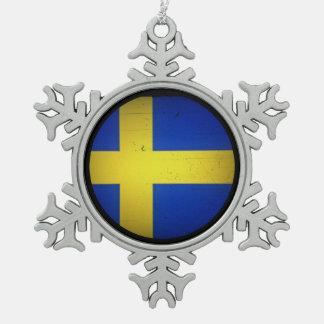 Scandinavian Flags Pewter Snowflake Decoration
