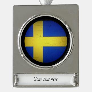Scandinavian Flags Silver Plated Banner Ornament