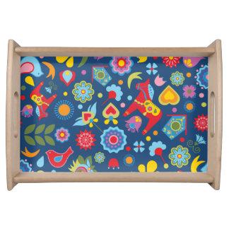 Scandinavian Folk Art Garden Floral Cushion Serving Tray
