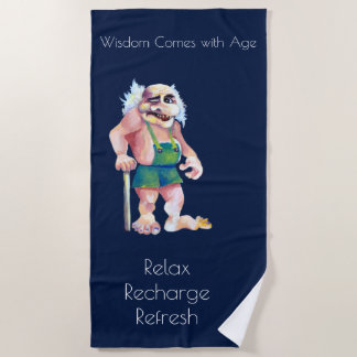 Scandinavian Funny Looking Ogre Troll Beach Towel