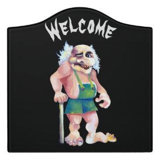 Scandinavian Funny Looking Welcoming Troll Door Sign