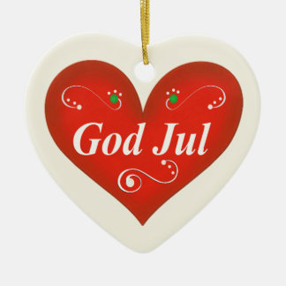 Scandinavian God Jul Christmas Heart Ceramic Heart Decoration