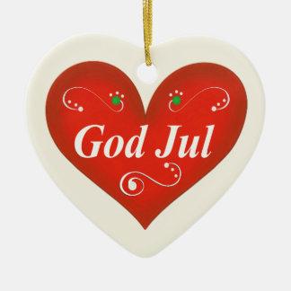 Scandinavian God Jul Christmas Heart Ceramic Heart Decoration