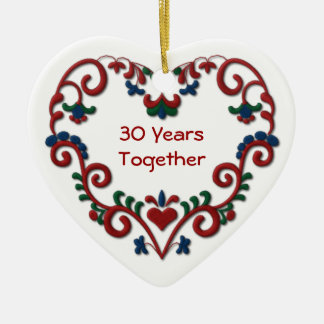 Scandinavian Heart 30 Years Together Ceramic Heart Decoration