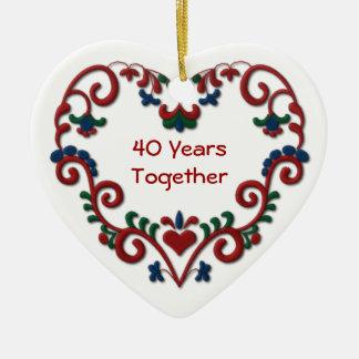 Scandinavian Heart 40 Years Together Ceramic Ornament