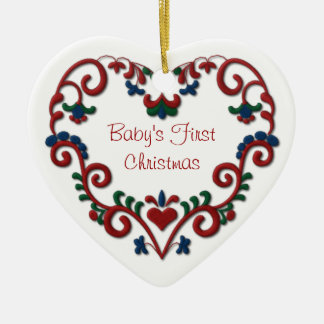 Scandinavian Heart Babys First Christmas Ceramic Heart Decoration