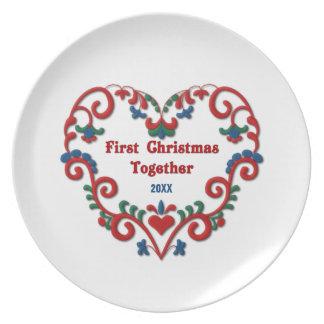 Scandinavian Heart First Christmas Together Custom Dinner Plates