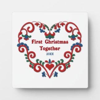 Scandinavian Heart First Christmas Together Custom Plaque