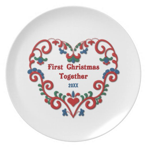 Scandinavian Heart First Christmas Together Custom Party Plates