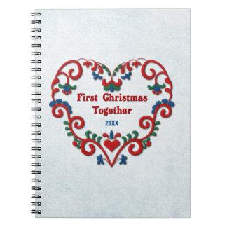 Scandinavian Heart First Christmas Together Custom Spiral Notebooks