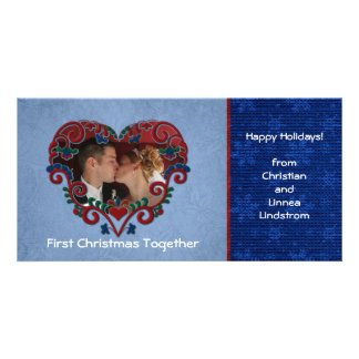Scandinavian Heart First Christmas Together Phot Picture Card