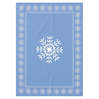 Scandinavian Light Blue and White Snowflake Tablecloth