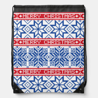 Scandinavian Merry Christmas Drawstring Bag