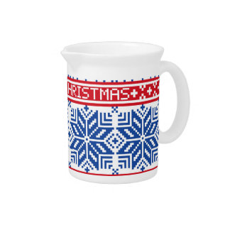 Scandinavian Merry Christmas Drink Pitchers