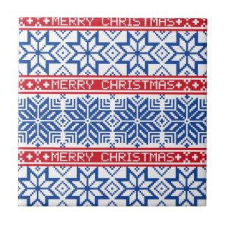 Scandinavian Merry Christmas Small Square Tile