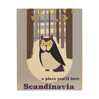Scandinavian Owl in the forest Vintage poster