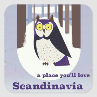 Scandinavian Owl in the forest Vintage poster Square Sticker