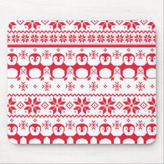 Scandinavian Penguin Holiday Design Mouse Pad