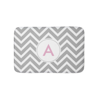 Scandinavian Pink Grey White Chevron Monogram Bath Mat