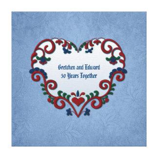 Scandinavian Rosemaling Heart Custom Anniversary Canvas Print