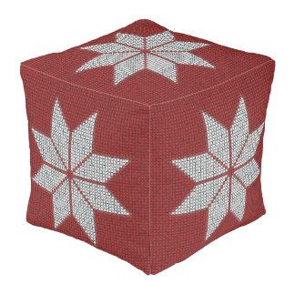 Scandinavian Snowflake Cross Stitch Pattern Cube Pouf