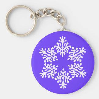 Scandinavian White Christmas Snowflake Basic Round Button Key Ring