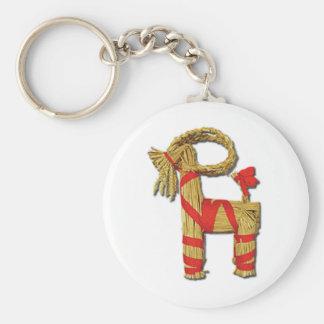 Scandinavian Yule Goat Basic Round Button Key Ring