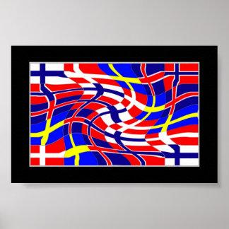 Scandinavy Wavy (Scandinavian Flags) Poster