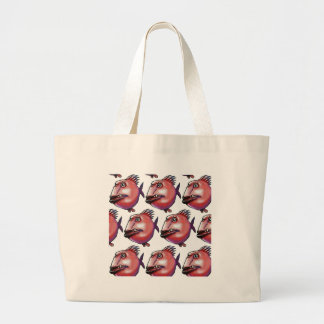 scar face fish tiled pattern red large tote bag