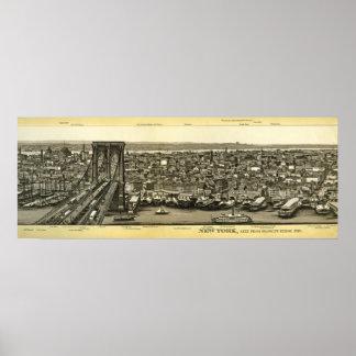 Scarce 1880 Brooklyn NY Panorama Poster