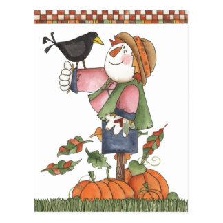 Scarecrow and crow postcard