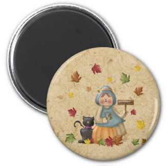 Scarecrow and his black cat 6 cm round magnet