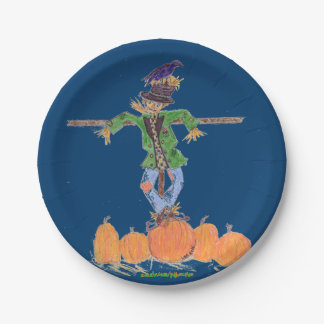 Scarecrow and Pumpkins Paper Plate