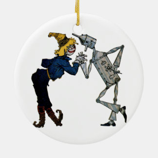 Scarecrow and Tin Man Round Ceramic Decoration