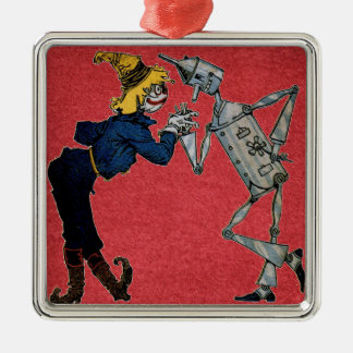 Scarecrow and Tin Man Silver-Colored Square Decoration